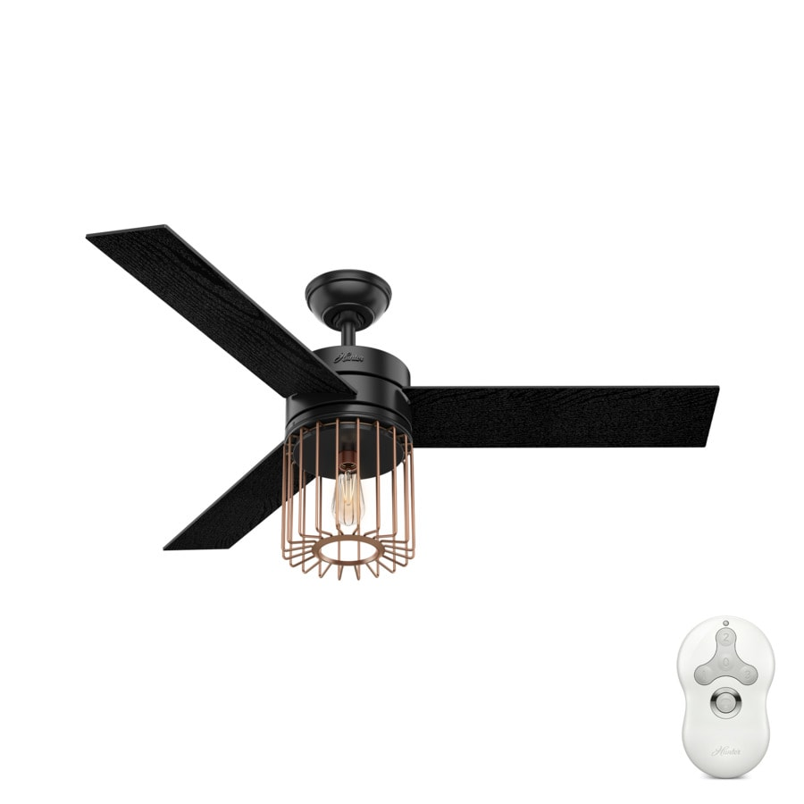 Hunter Ronan Led Edison 52-in Matte Black and Satin Copper Downrod or Close Mount Indoor Ceiling Fan with Light Kit and Remote (3-Blade)