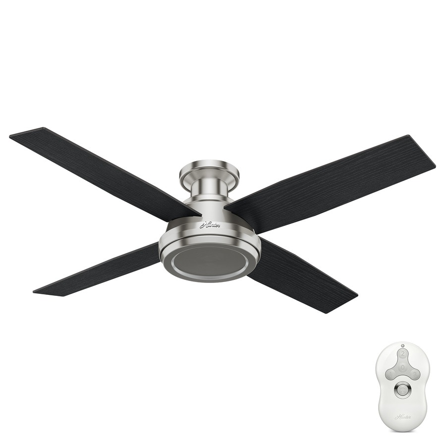 Shop hunter dempsey 52 in brushed nickel flush mount for Hunter flush mount ceiling fan with remote control