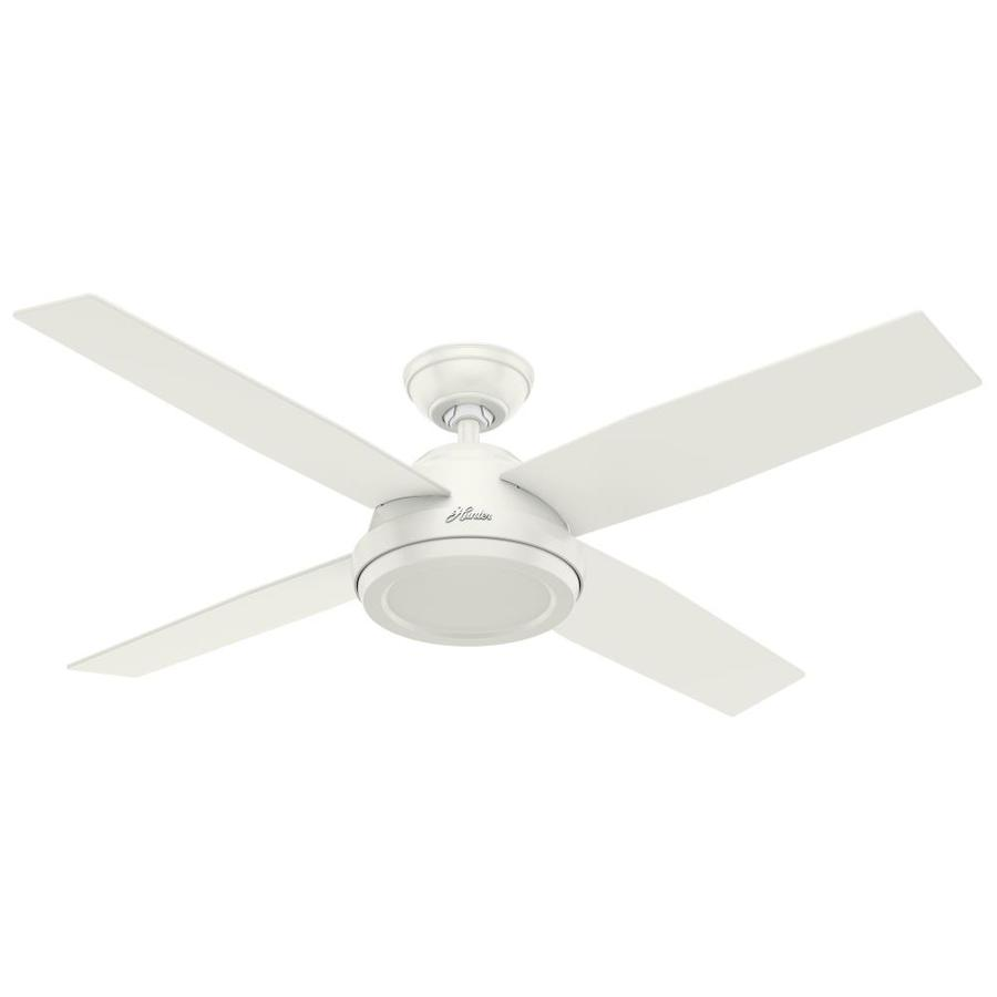Hunter Dempsey 52-in Fresh White Downrod or Close Mount Indoor Ceiling Fan Remote Control Included (4-Blade)