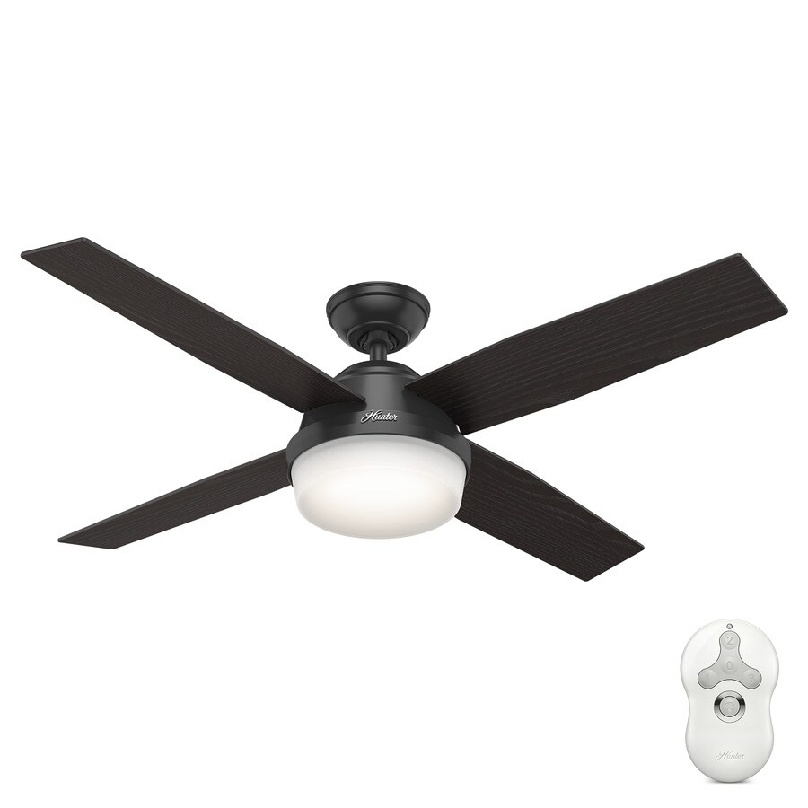Hunter Dempsey 52-in Matte Black Downrod or Close Mount Indoor/Outdoor Ceiling Fan with Light Kit and Remote (4-Blade)