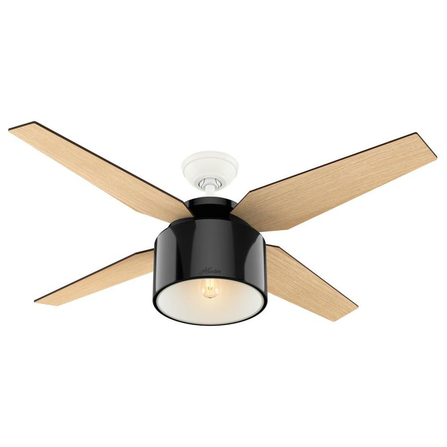 Hunter Cranbrook 52-in Gloss Black Downrod Mount Indoor Ceiling Fan with Light Kit and Remote (4-Blade)