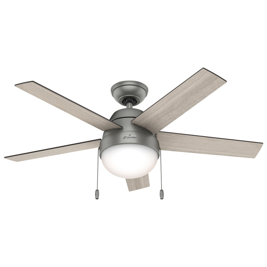 Hunter Anslee 46-in Matte Silver Downrod or Close Mount Indoor Ceiling Fan with Light Kit