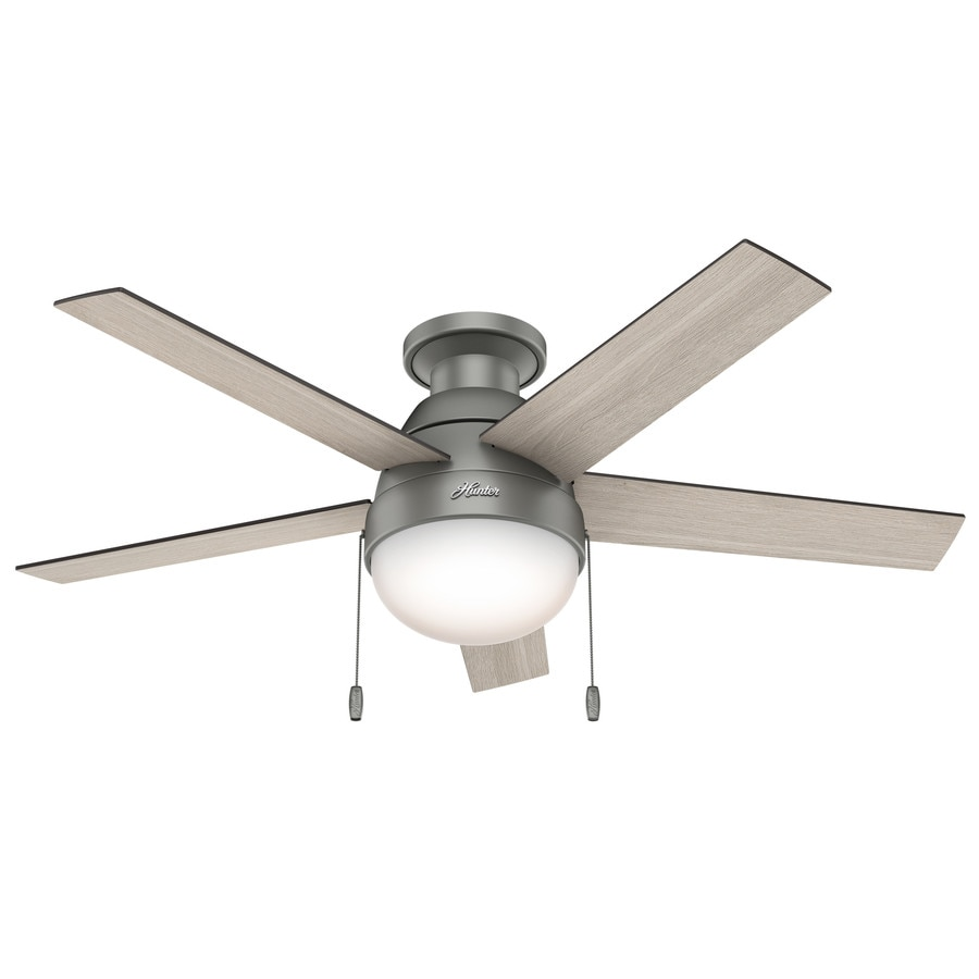 Hunter Anslee 46-in Matte Silver Flush Mount Indoor Ceiling Fan with Light Kit