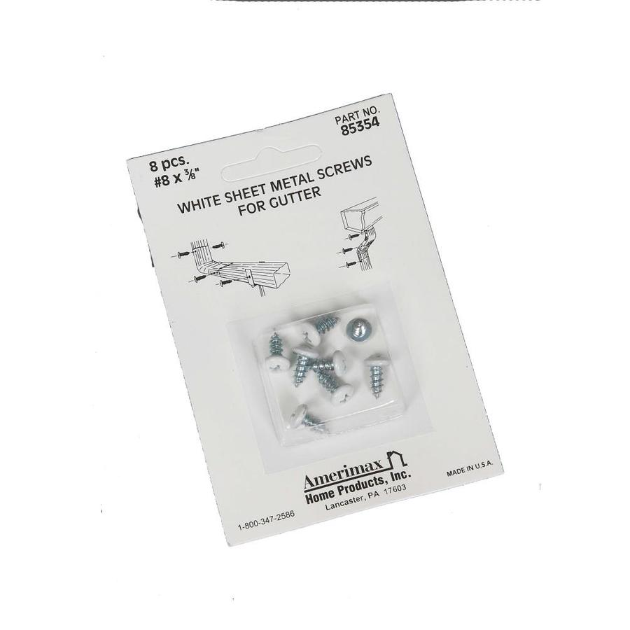 Amerimax 8-Count #8 x 0.375-in White Self-Tapping Phillips-Drive Exterior Gutter Screws