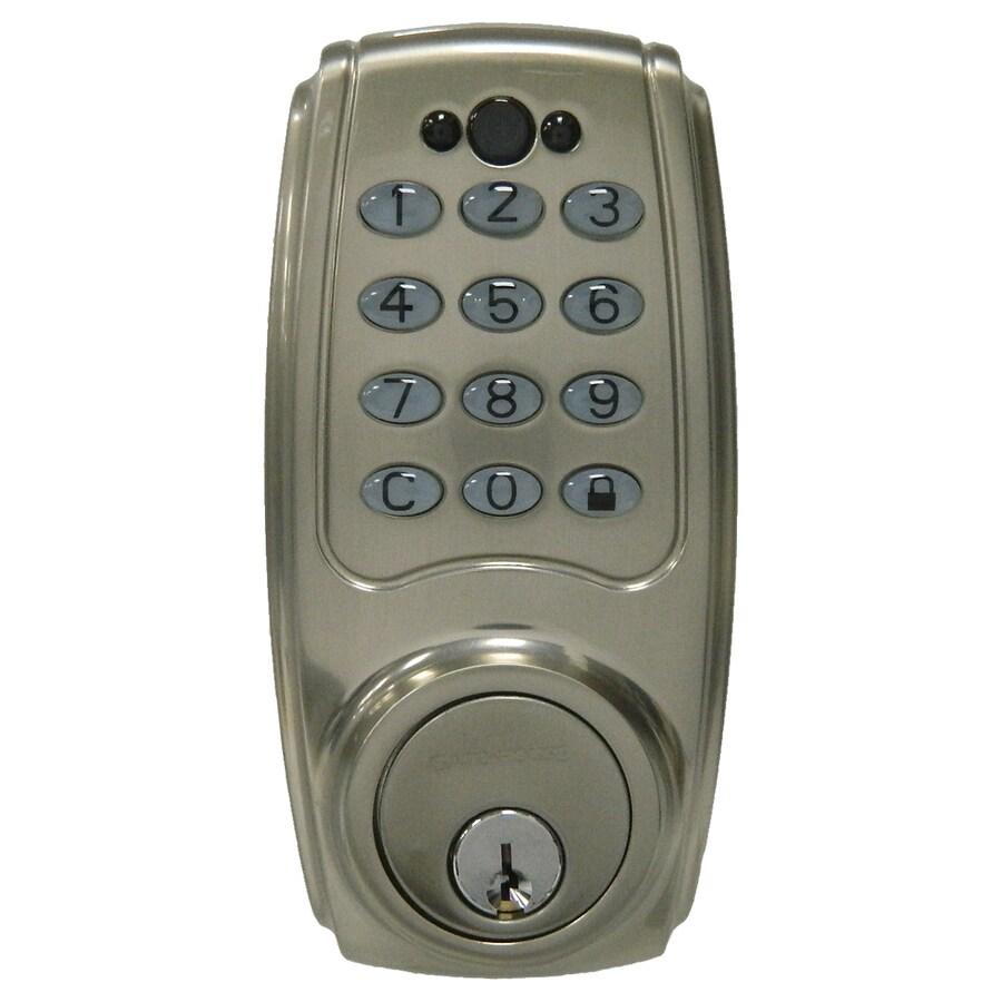 Gatehouse Satin Nickel Single-Cylinder Motorized Electronic Entry Door Deadbolt with Keypad