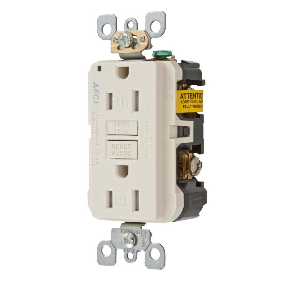 Hubbell 15-Amp 125-Volt Light Almond Indoor AFCI Decorator Wall Tamper Resistant Outlet