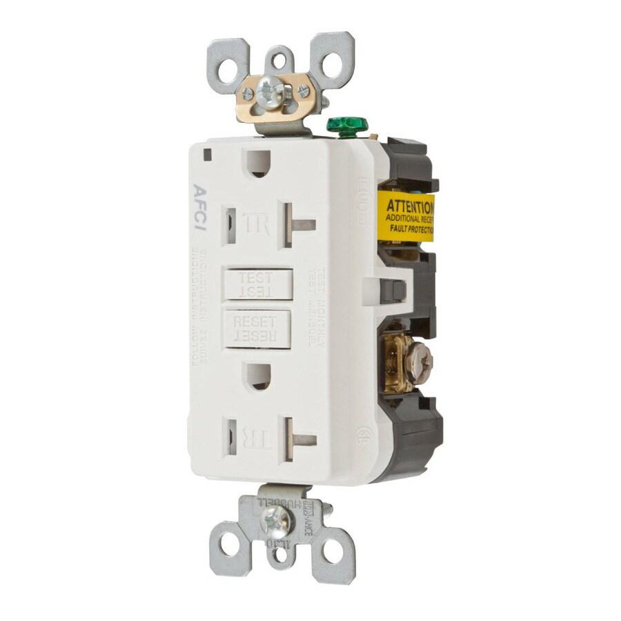 Hubbell 20-Amp 125-Volt White Indoor AFCI Decorator Wall Tamper Resistant Outlet