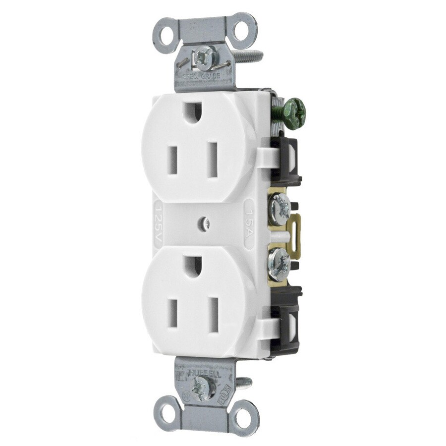 Hubbell 15-Amp 125-Volt White Indoor Duplex Wall Outlet