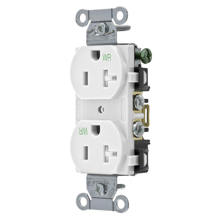 Hubbell 20-Amp 125-Volt White Indoor/Outdoor Duplex Wall Tamper Resistant Outlet