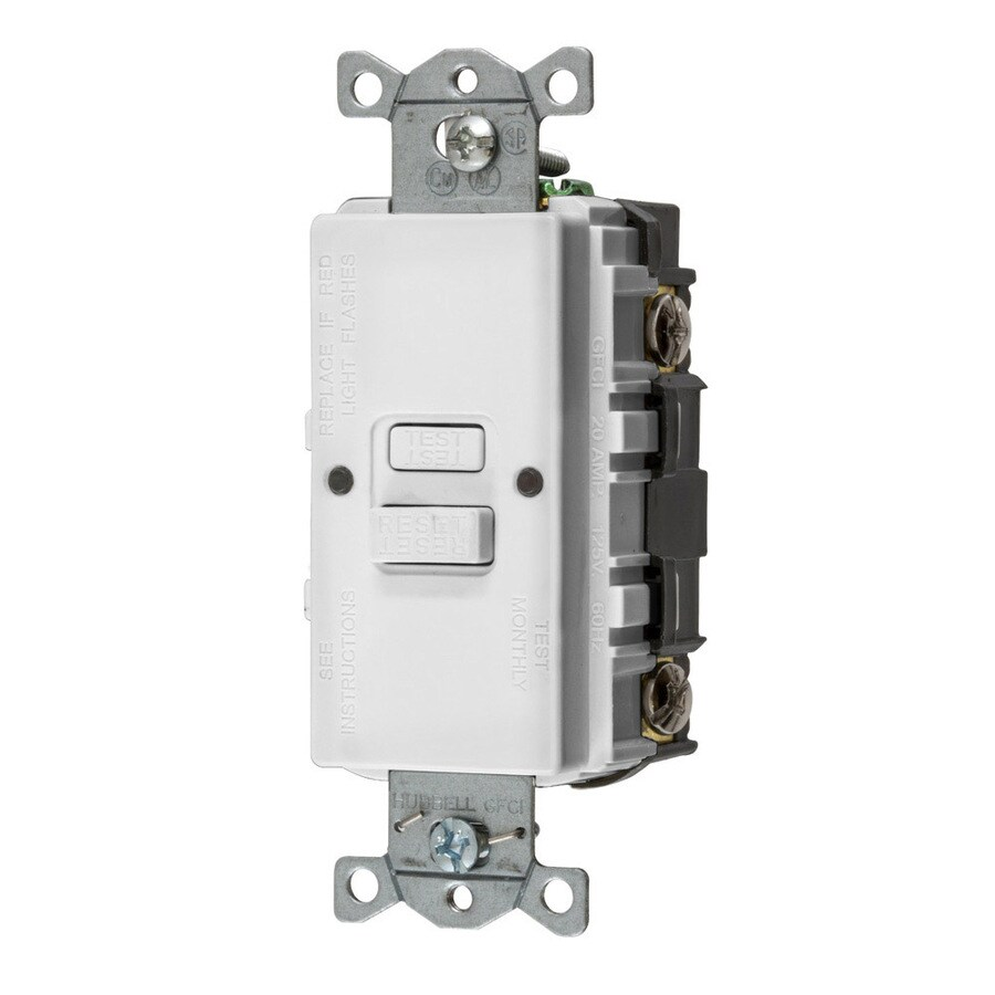 Hubbell 20-Amp 125-Volt White Indoor GFCI Decorator Wall Outlet
