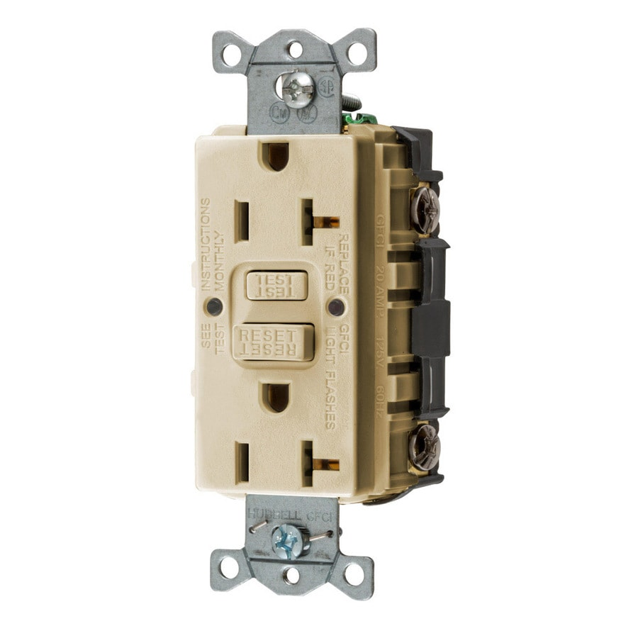 Hubbell 20-Amp 125-Volt Ivory Indoor GFCI Decorator Wall Outlet