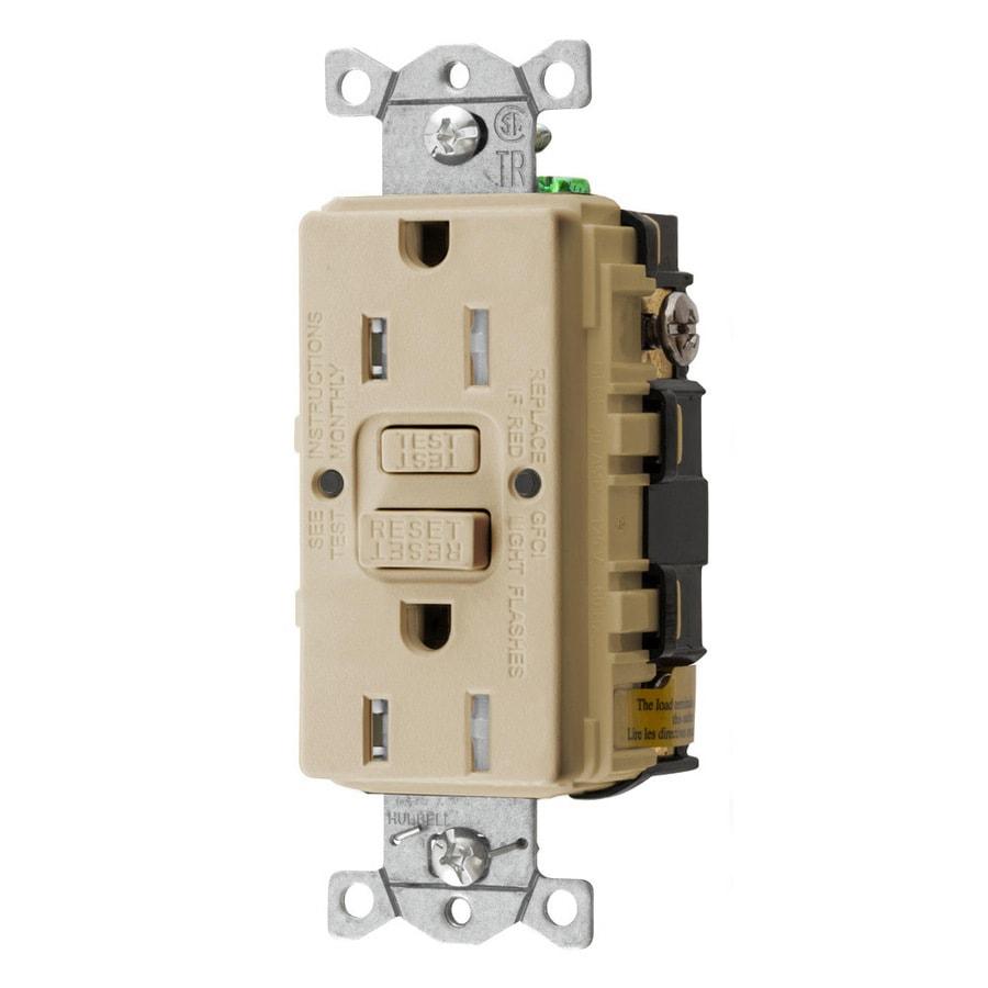 Hubbell 15-Amp 125-Volt Ivory Indoor GFCI Decorator Wall Tamper Resistant Outlet