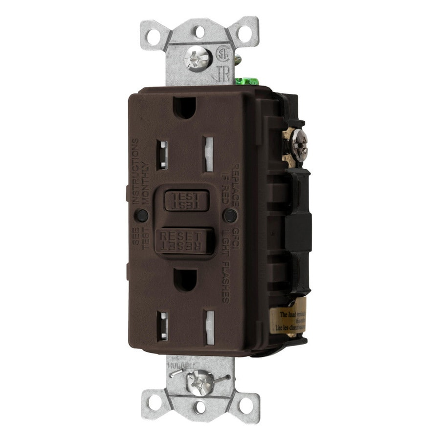 Hubbell 15-Amp 125-Volt Brown Indoor GFCI Decorator Wall Tamper Resistant Outlet