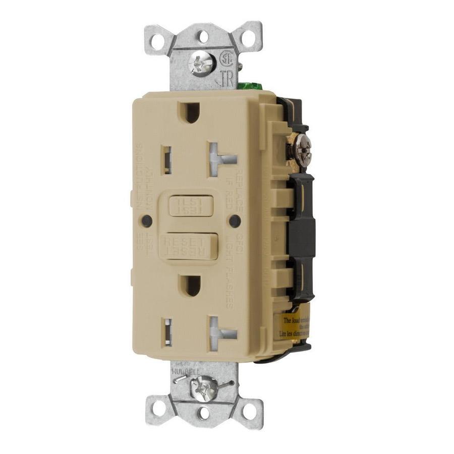 Hubbell 20-Amp 125-Volt Ivory Indoor GFCI Decorator Wall Tamper Resistant Outlet