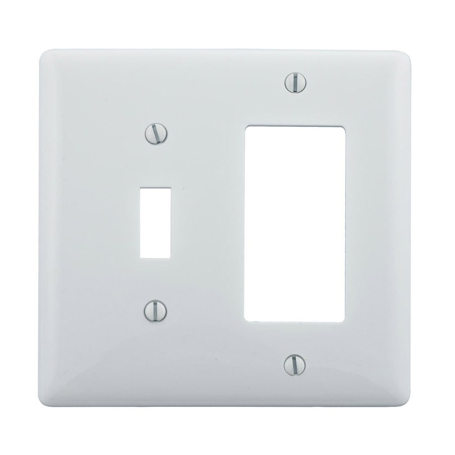 Hubbell 2-Gang White Single Toggle/Decorator Wall Plate