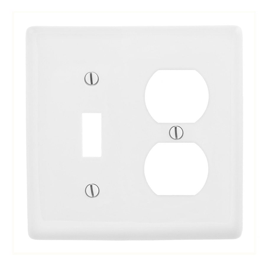 Hubbell 2-Gang White Single Toggle/Duplex Wall Plate