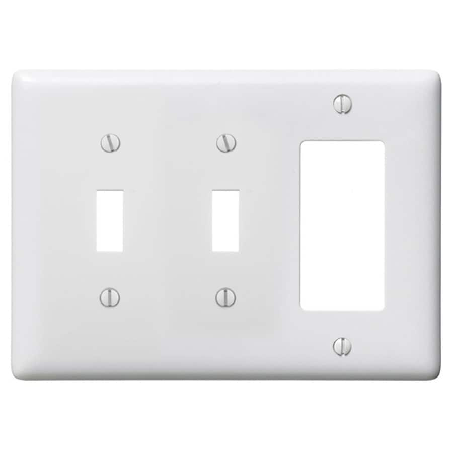 Hubbell 3-Gang White Double Toggle/Decorator Wall Plate
