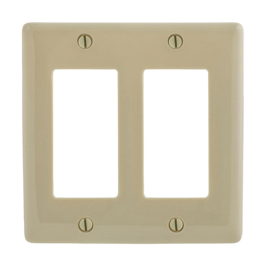 Hubbell 2-Gang Ivory Double Decorator Wall Plate