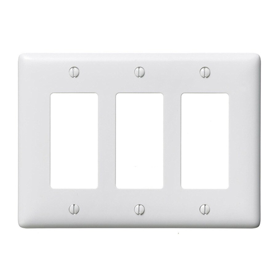 Hubbell 3-Gang White Triple Decorator Wall Plate