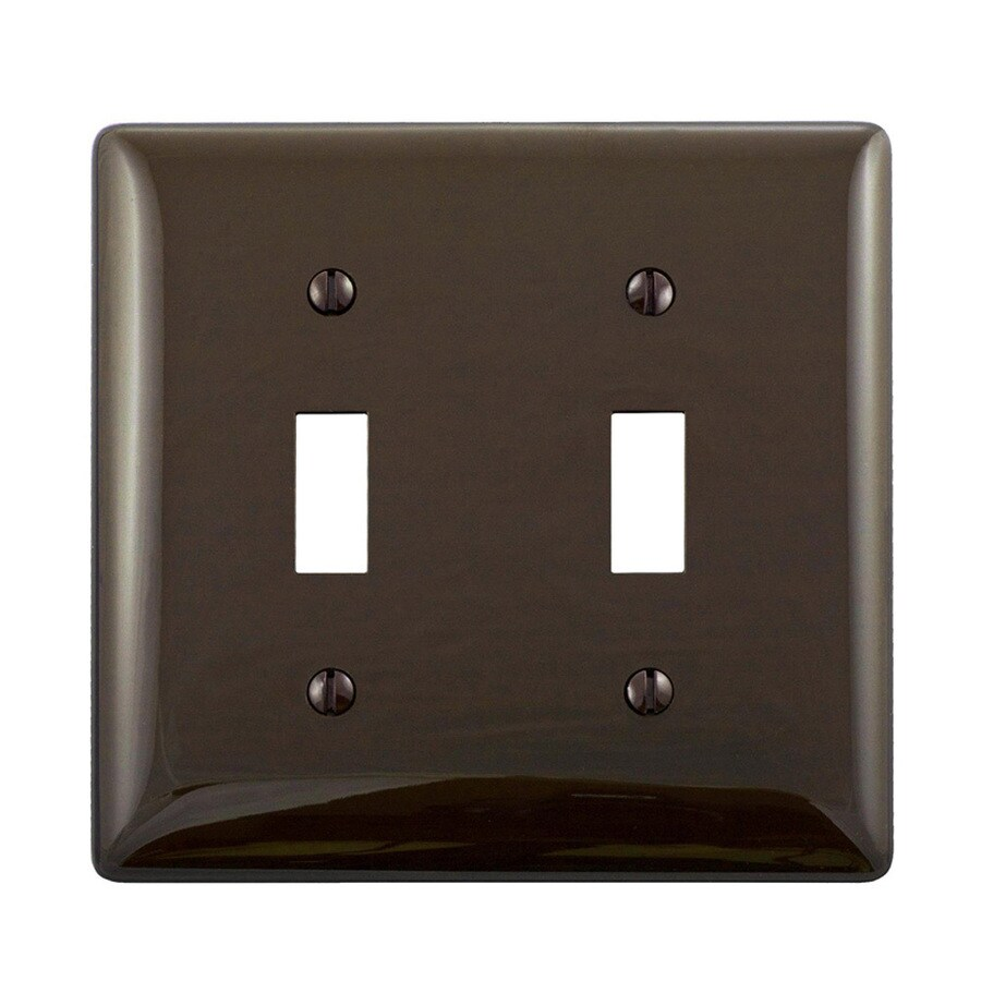 Hubbell 2-Gang Brown Double Toggle Wall Plate
