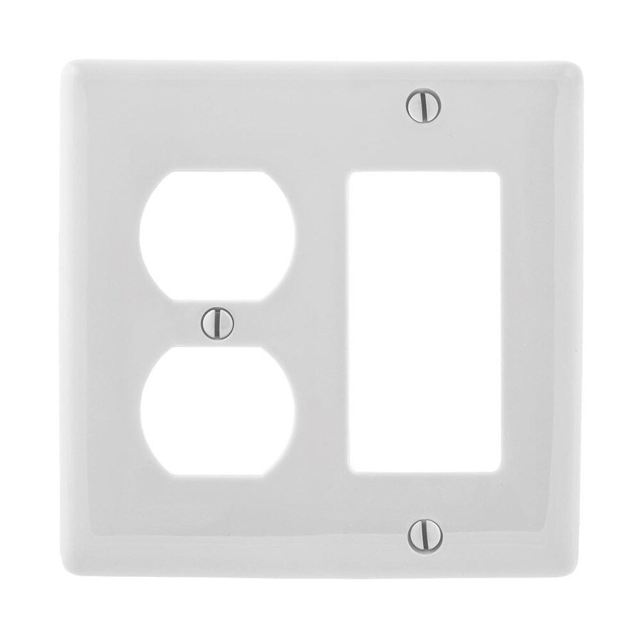 Hubbell 2-Gang White Single Duplex/Decorator Wall Plate