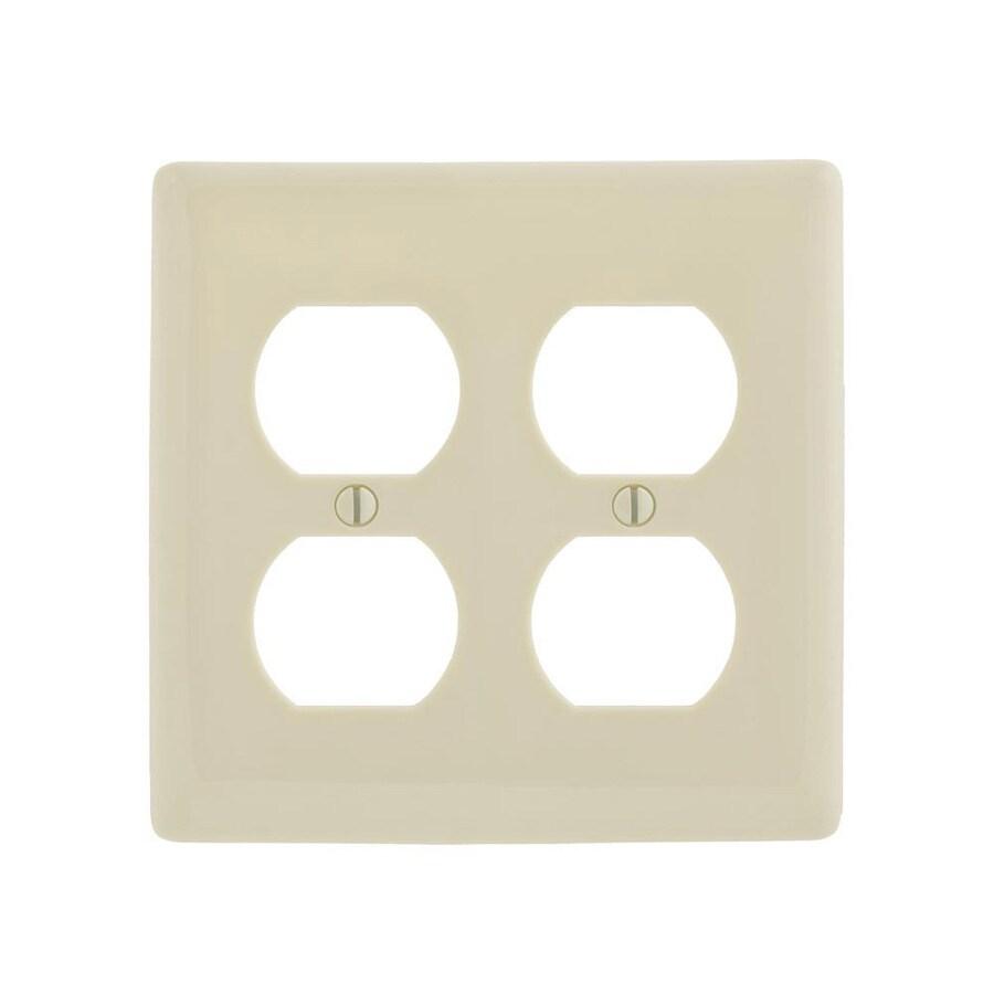 Hubbell 2-Gang Light Almond Double Duplex Wall Plate
