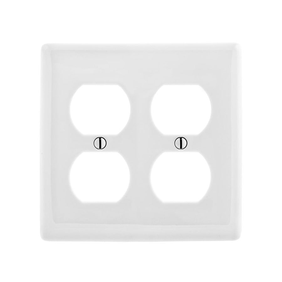 Hubbell 2-Gang White Double Duplex Wall Plate