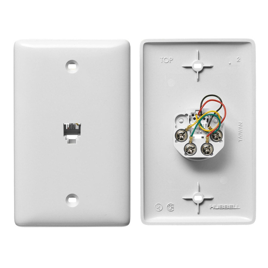 Hubbell 1-Gang White Single Phone Wall Plate