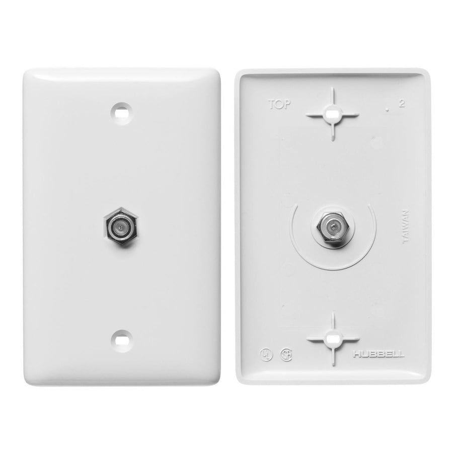 Hubbell 1-Gang White Single Coaxial Wall Plate