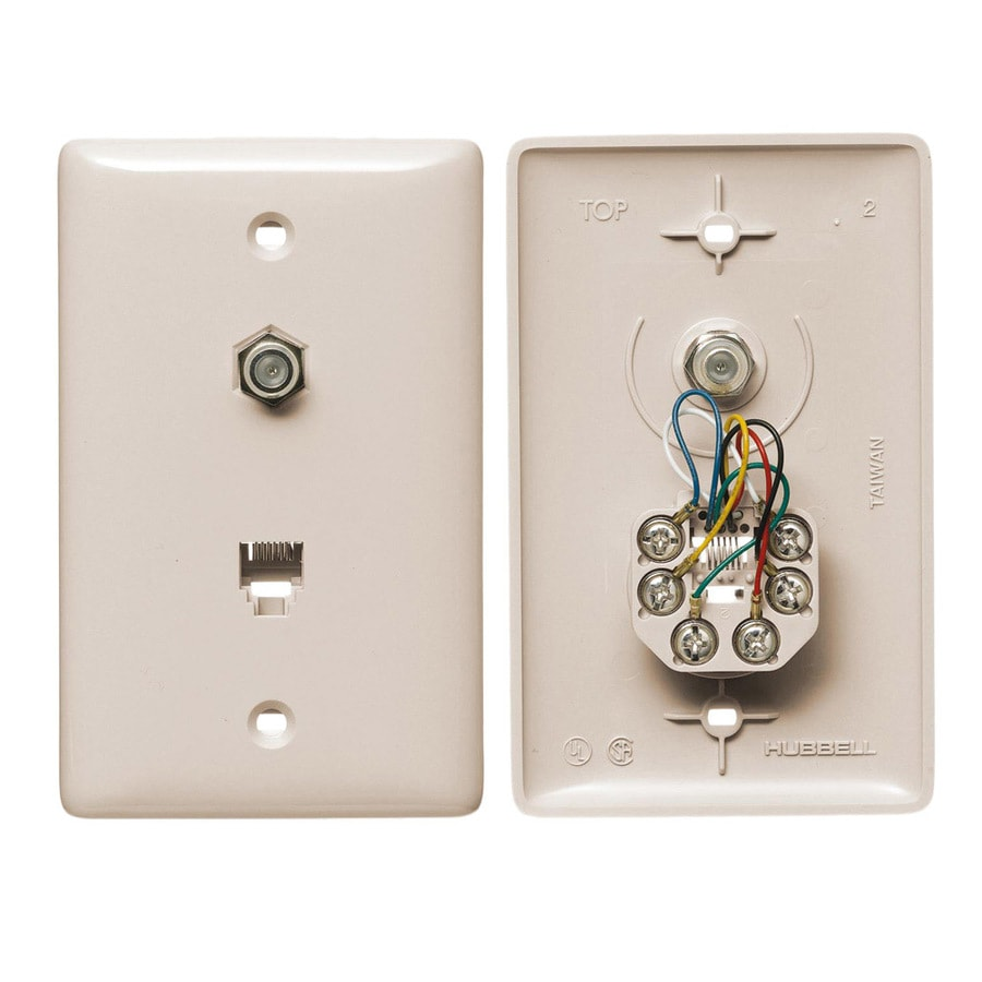 Hubbell 1-Gang Light Almond Single Phone/Coaxial Wall Plate