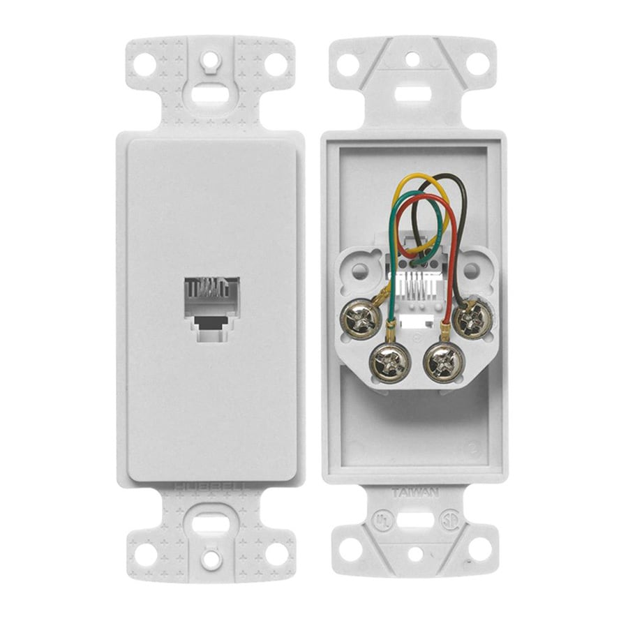 Hubbell 1-Gang White Single Decorator Phone Wall Plate Insert