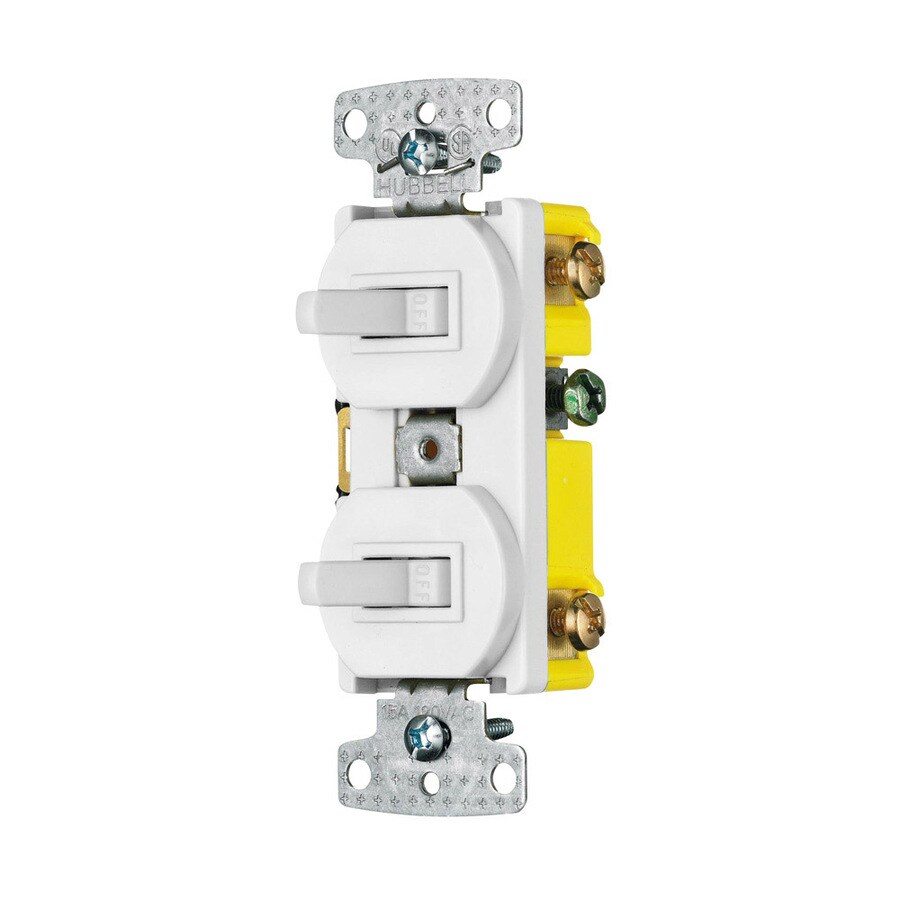 Hubbell 2-Switch 15-Amp Single Pole White Indoor Toggle Light Switch