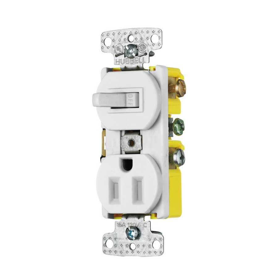 Hubbell 15-Amp 125-Volt White Indoor Duplex Wall Tamper Resistant Outlet/Switch
