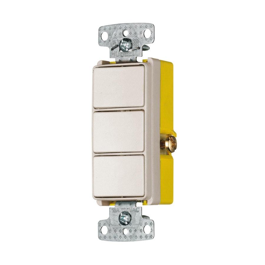Hubbell 3-Switch 15-Amp Single Pole Light Almond Indoor Rocker Light Switch