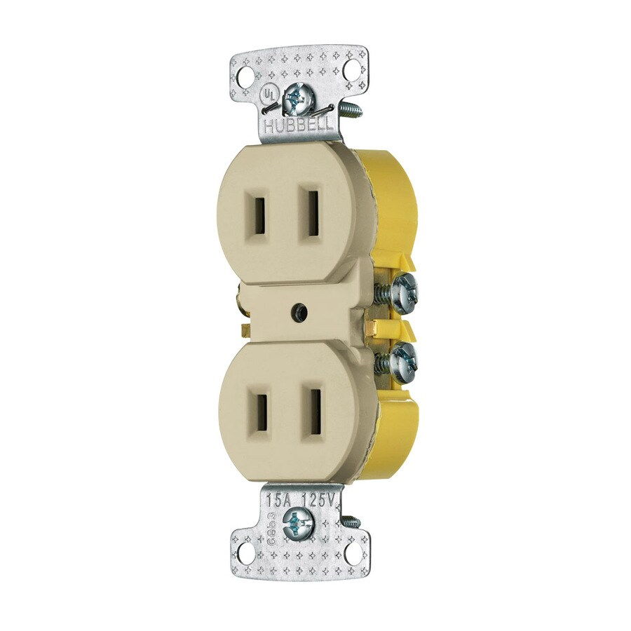 Hubbell 15-Amp 125-Volt Ivory Indoor Round Wall Outlet