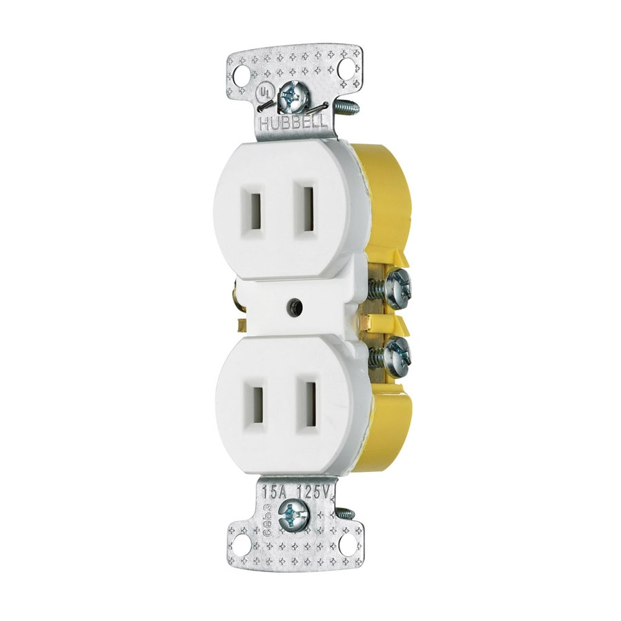 Hubbell 15-Amp 125-Volt White Indoor Round Wall Outlet