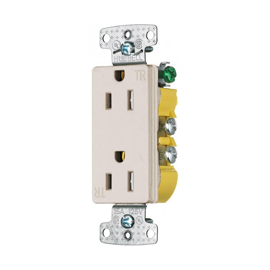 Hubbell 15-Amp 125-Volt Light Almond Indoor Decorator Wall Tamper Resistant Outlet