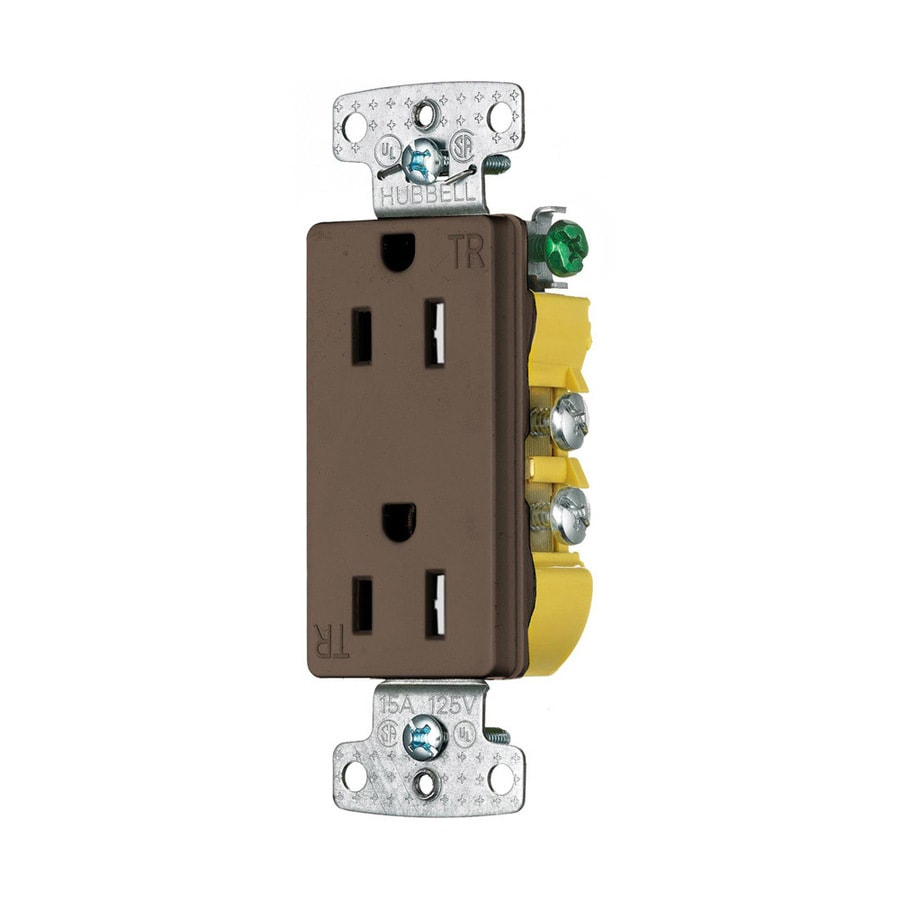 Hubbell 15-Amp 125-Volt Brown Indoor Decorator Wall Tamper Resistant Outlet