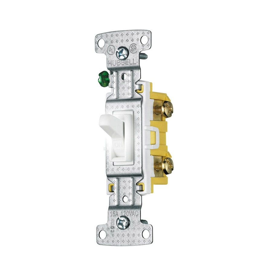Hubbell 15-Amp Single Pole White Indoor Framed Toggle Light Switch