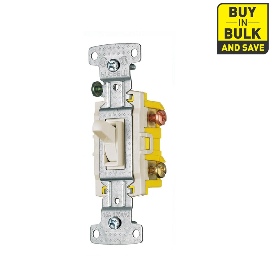 Hubbell 5-Pack 1-Switches 15-Amp 3-Way Ivory Indoor Framed Toggle Light Switches