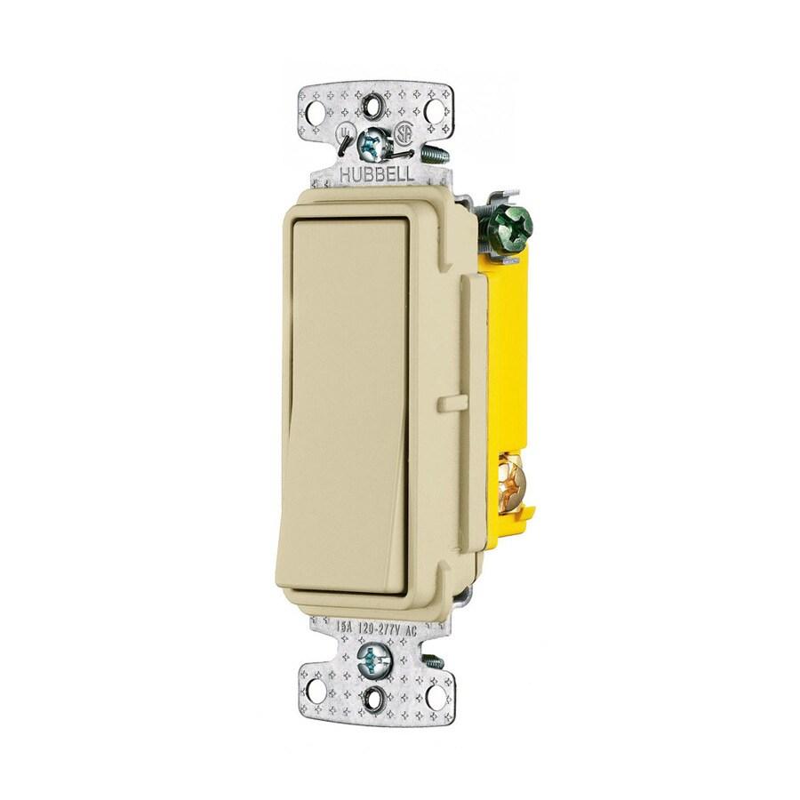Hubbell 15-Amp Single Pole Ivory Indoor Rocker Light Switch