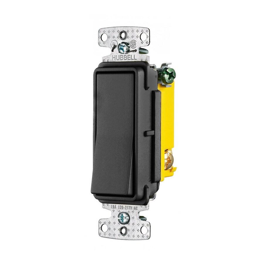 Hubbell 15-Amp 3-Way Black Indoor Rocker Light Switch