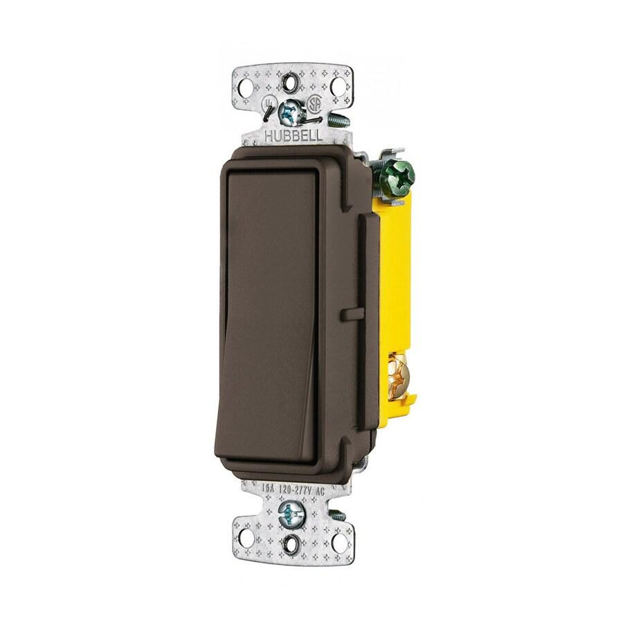 Hubbell 15-Amp 3-Way Brown Indoor Rocker Light Switch