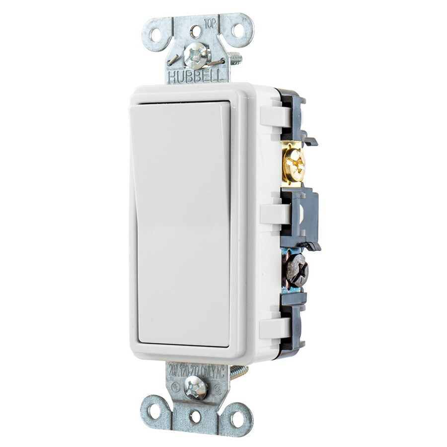 Hubbell 15-Amp 4-Way White Indoor Rocker Light Switch