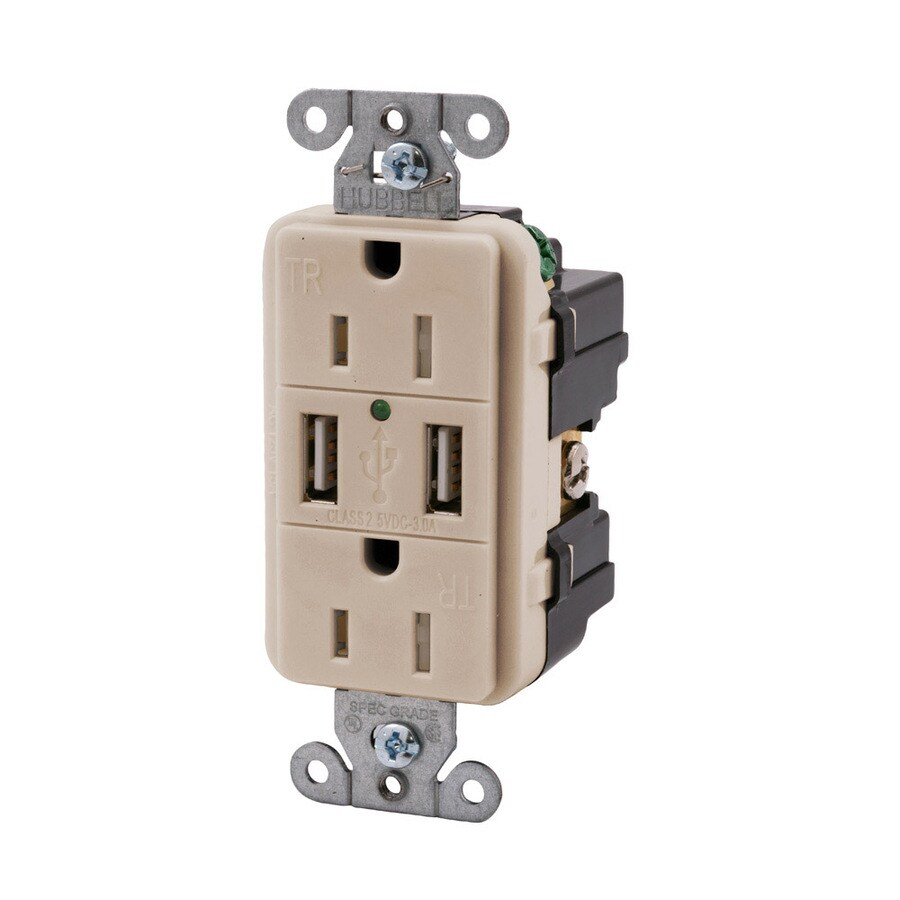 Hubbell 15-Amp 125-Volt Light Almond Indoor Decorator Wall Outlet/USB