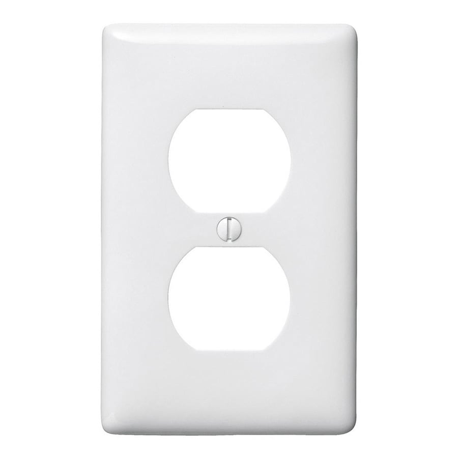 Hubbell 10-Pack 1-Gang White Single Duplex Wall Plates