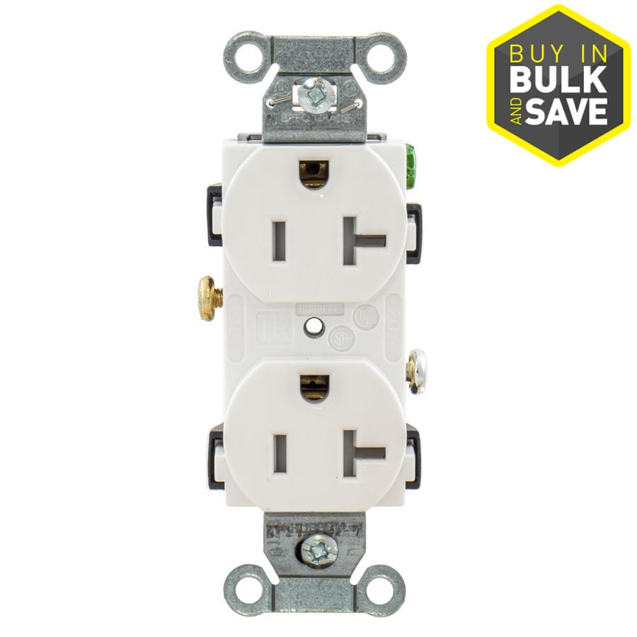 Hubbell 20-Amp 125-Volt White Indoor Duplex Wall Tamper Resistant Outlet