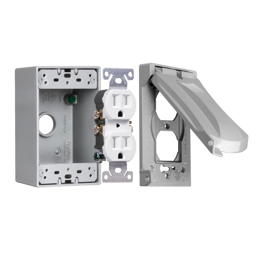 Hubbell TayMac 32-cu in 1-Gang Metal Square Weather Resistant Wall Electrical Box