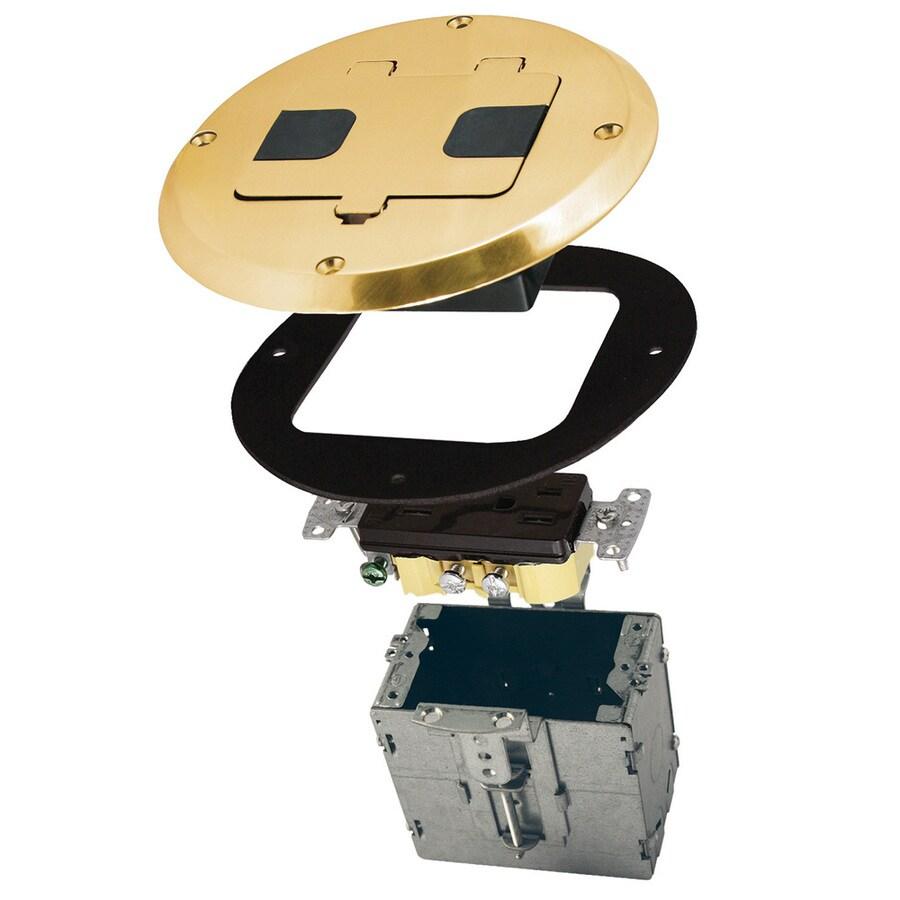 Raco 15-Amp 125-Volt Brass Recessed Indoor Duplex Floor Tamper Resistant Outlet