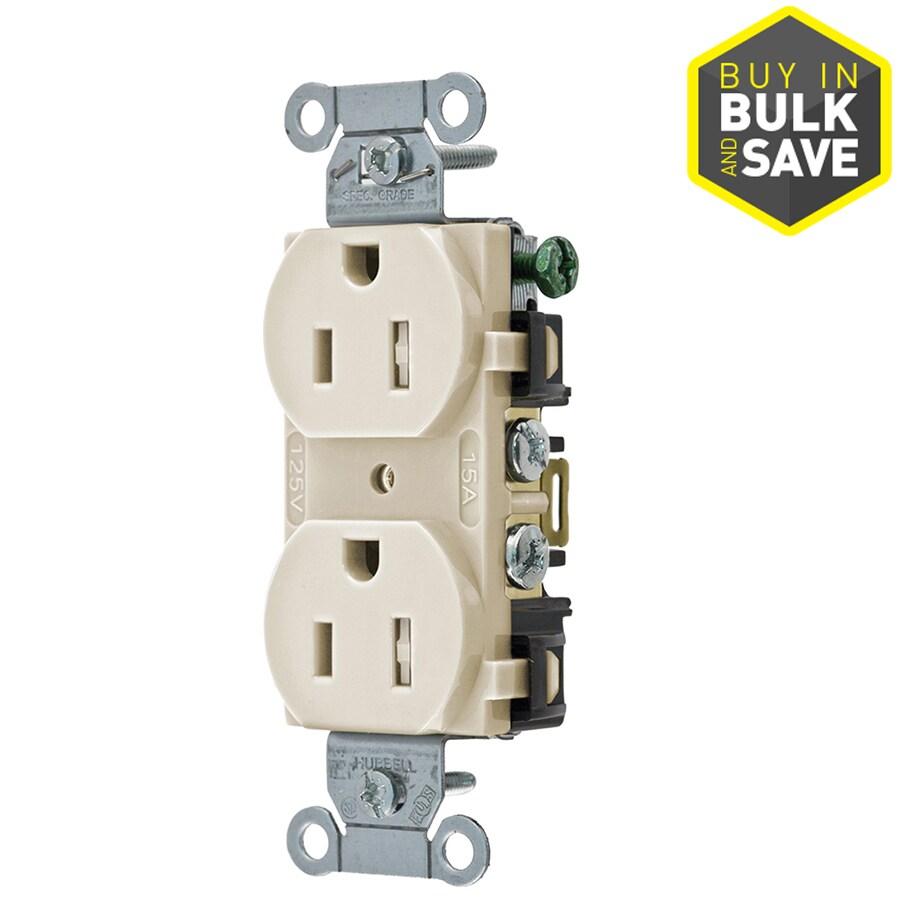 Hubbell 15-Amp 125-Volt Almond Indoor Duplex Wall Tamper Resistant Outlet